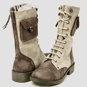 ROXY OREGON CANVAS DISTRESSED MIDCALF BOOTS SZ 7